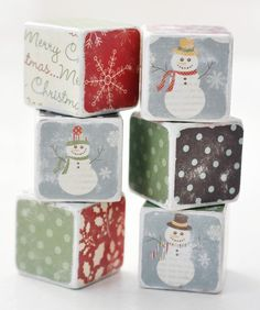 Country+Snowman+holiday+wooden+blocks+by+birdsANDblossomsGift,+$20.00