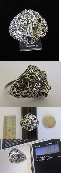 Rings 98500: Native American Navajo Sterling Bear Head Ring Size 12 Signed Pete Morgan -> BUY IT NOW ONLY: $59.99 on eBay!