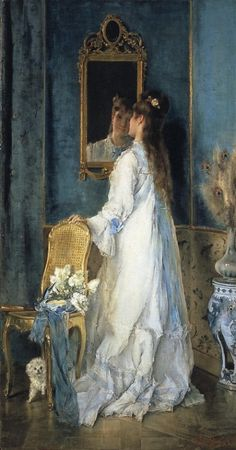 Alfred Stevens - Woman in front of a mirror (c.1870)~