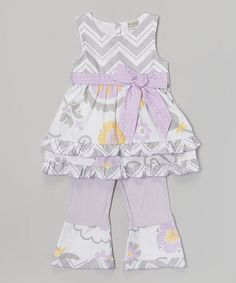 Loving this Gray Zigzag & Lavender Floral Top & Pants - Toddler & Girls on #zulily! #zulilyfinds