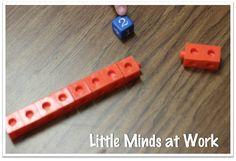 Subtraction partner game.  pop cubes & dice.