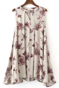 Floral Print V Neck Sleeveless Chic Dress