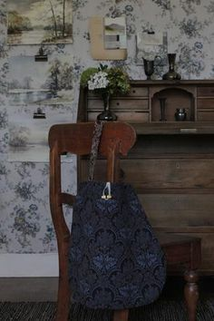 The original 'Meandering' bag design from The Linen Garden Collections. When not in use simply hang on your wall like a painting. Name: CLAIMONT Style: Meand Winter Collection, Screen Printing, Home Furniture, Interior, Fabric, Prints, Bags, Design, Armoire