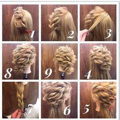 Seiya Iida Arrangement de Cheveux / Couleur de l& / Gradation , Easy Updos For Medium Hair, Medium Hair Styles, Curly Hair Styles, High Bun Hairstyles, Pretty Hairstyles, Peinado Updo, Curly Hair Updo, Hair Arrange, Corte Y Color