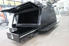 HQ LINK | TOOLBOX | CANOPY | TRAILER - powder coated checker plate canopy with drawers and internal