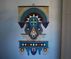 Vintage Woven Fiber Art Wall Hanging. $120.00, via Etsy.