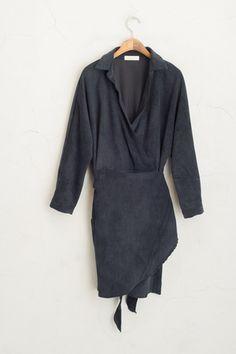 Corduroy Wrap Dress, Navy