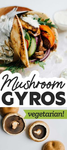 This vegetarian Portobello Mushroom Gyros recipe is seasoned with a flavor-packed blend of Mediterranean spices and grilled to meaty perfection, then drizzled with a quick homemade feta tzatziki sauce and wrapped in pillowy pita (oh, and all in under 15 minutes). #vegetarian #easyrecipe #healthyrecipe #greekfood #gyro Low Calorie Vegetarian Recipes, Vegetarian Sandwich Recipes, Vegetarian Recipes Dinner, Lunch Recipes, Vegan Recipes, Cooking Recipes, Paleo, Healthy Comfort Food, Healthy Food
