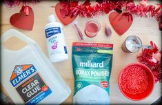 SENSORY, FINE Motor, Slime, Elmer's glue, baking soda, borax powers, red coloring, glitter, foam balls, contact lens solution, Valentines inspired, hearts, DIY, goop, Oobleck, sensorial activity, kids activities, homeschool,