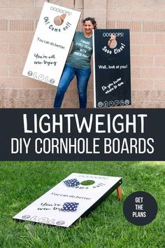 How to build easy DIY cornhole boards that are lightweight. These custom bean bag toss game is really easy to build! #anikasdiylife #cornhole #cornholeboards Kreg Jig Projects, Scrap Wood Projects, Woodworking Projects That Sell, Outdoor Projects, Diy Woodworking, Diy Cornhole Boards, Wood Working For Beginners, Look At You, Easy Diy