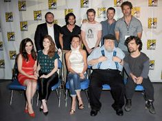 Some of the principals in HBO's 'Game of Thrones' series (in particular note the two guys standing at the back on the right side, D.B.Weiss and David Benioff)