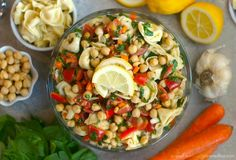 Lemony Tortellini-Chickpea Salad: A bright fresh packed-with-veggies pasta salad that is perfect for cookouts and parties! Best Pasta Salad, Pasta Salad Recipes, Healthy Salad Recipes, Healthy Chicken Recipes, Orzo, Vegetable Nutrition, Chickpea Salad, Healthy Dinner Recipes, Lunch Recipes