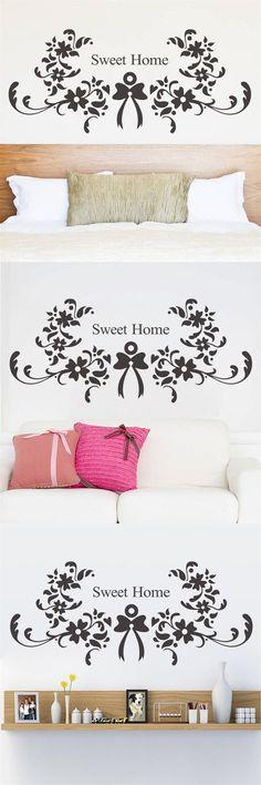 Sweet Home Flower warm quote words Flora home bedroom door wedding decoration wall sticker adesivo de parede stickers ZY8375 $3.49