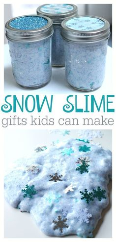 Snow slime all packaged up in a mason jar for holiday giving