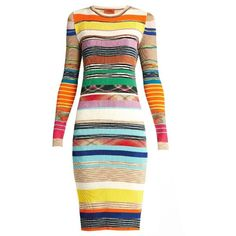 Missoni Striped ribbed-knit dress ($654) ❤ liked on Polyvore featuring dresses, missoni, striped dress, missoni dress, ribbed knit dress and stripe dresses
