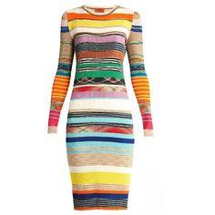Missoni Striped Ribbed Knit Dress ($1,038) ❤ liked on Polyvore featuring dresses, stripe dresses, rib knit dress, missoni, ribbed knit dress and missoni dress