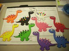 Flannel Friday: A rainbow horde of dinosaurs | Read It Again! - SO CUTE!