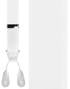 White Grosgraine Ribbon Suspenders (Button Ends)