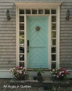 Robin's Egg Blue door on a shingle house - love it