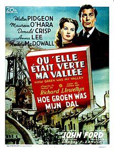 """341. """"qu'ellle était verte ma vallée"""" de John Ford avec Maureen O'Hara, Anna Lee,Walter Pidgeon. 1941"""