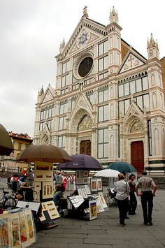 Florence, Italy - The basilica of Santa Croce (houses the tombs of many of the citys illustrious dead, including Michelangelo, Galileo and Machiavelli)