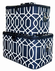 Ever Moda Black Geometric Cosmetic Makeup Train Case 2-piece *** Find out more details by clicking the image : Travel essentials