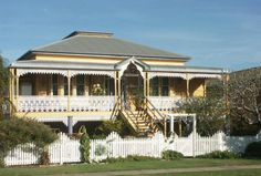 "This is a ""Queenslander"" - a traditional Queensland home, elevated to catch the breezes & avoid flooding Australian Architecture, Australian Homes, Australian Bush, Colonial Architecture, Future House, My House, Queenslander House, Exterior Colors, My Dream Home"
