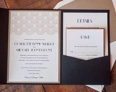 Great Gatsby Black and Gold Modern Pocketfold Formal Wedding Invitation - Deposit to Start Order