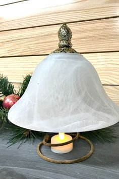 Repurposed Light Globe Christmas Trees : Create a Christmas tree light using a v. Christmas Tree Tops, Christmas Craft Fair, Holiday Lights, Christmas Lights, Christmas Decorations, Christmas Displays, Repurposed Light Globes, Do It Yourself Decorating, Decorating Ideas