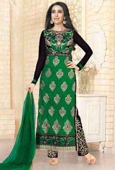 Green and Black Georgette Suit - Desi Royale