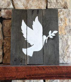Dove of Peace,  Reclaimed Wood Sign, Peace Dove, White Dove, Christian Dove…