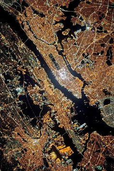 Premium Luster Photo Print New York, New York, the city that never sleeps. This satellite image taken at night shows that New York City's nickname is rightfully so. The city lights up the night sky. New York From Above, City From Above, Empire State Of Mind, Empire State Building, New York City, Photo New York, Little Paris, Ellis Island, Yankee Stadium