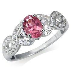 Amazon.com: October Birthstone Tourmaline & White Topaz Sterling Silver Ribbon Ring: Jewelry