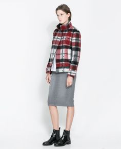 Shop for Double Breasted Checked Woollen Three Quarter Length Coat by Zara at ShopStyle. Zara New, Plaid Jacket, Plaid Fashion, Zara Women, French Fashion, Who What Wear, Double Breasted, Lana, Vintage Outfits