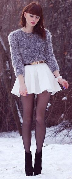 white skirt + tights for winter