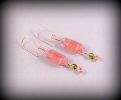 Pink Coral Frosted Glass Earrings, Abstract Dangle Earrings, Pink and Green Copper Earrings, Pink Glass Boho Earrings, Streaky Glass Earring by KarliScottDesigns on Etsy