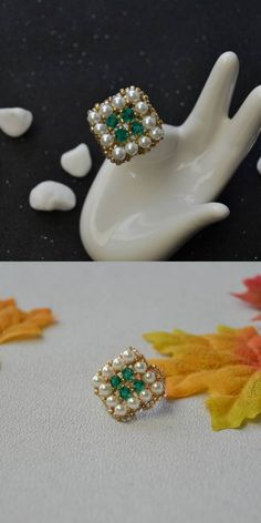 We carry a large selection of glass pearl beads in a variety of colors and shapes as well as graduated strands of glass pearl beads. Plain Gold Ring, Old Rings, Bee Crafts, How To Make Homemade, Beaded Rings, Gold Leather, Stone Rings, Pearl Beads, Round Beads