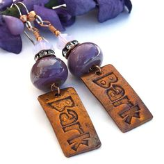 Bark #Dog Rescue #Handmade #Earrings, Copper, Purple #Lampwork Artisan #Jewelry by @ShadowDog #ShadowDogDesigns #indiemade - 1/2 of the purchase price will be donated to the local Humane Society - $40.00