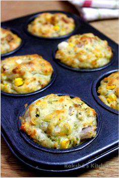 Savory Veggie Corn Cheese Muffins – Raksha's Kitchen - indian snacks Veggie Muffins, Cheese Muffins, Corn Muffins, Recipe For Savory Muffins, Savory Muffins Healthy, Pizza Muffins, Baking Muffins, Baby Food Recipes, Indian Food Recipes