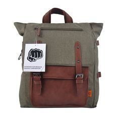 Khaki canvas backpack for laptop Casual bag DICKFIST 501