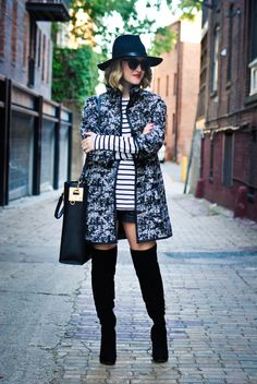 A Lacey Perspective - OTK suede boots + abstract coat