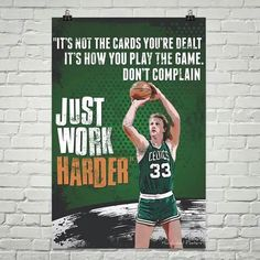 Larry Bird x with green artwork. Basketball Posters, Basketball Quotes, Basketball Drills, Basketball Pictures, Basketball Uniforms, Celtics Basketball, Hockey Quotes, Larry Bird Quotes, Basketball Motivation