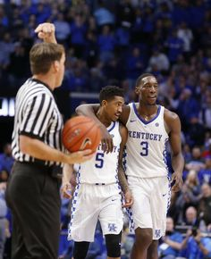Kentucky guard Malik Monk (5) and forward Bam Adebayo (3) walked to the bench near the end of the game against Vanderbilt.