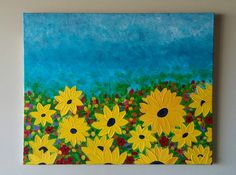 Sunflower painting, Abstract Painting, Modern Sunflower Art,Field of flowers painting,Sunflowers wall art,Abstract flower painting,24x30 by ArtByRangrez on Etsy