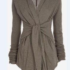 Gray Turn-Down Collar Long Sleeve Self-Tie Design Draped Coat