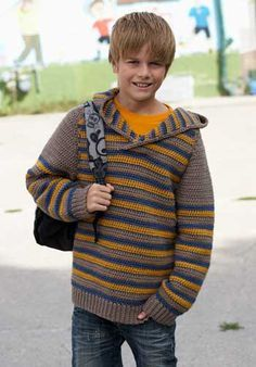 Crochet Hoodies Ravelry: Joy Stripes Hoodie pattern by Patons - Pinning this to make for my little guy when he gets a bit older.I even love the colors they chose for this pic too! Crochet Men, Crochet Jumper, Crochet For Boys, Free Crochet, Crochet Hats, Crochet Sweaters, Crochet Boys Sweater Pattern Free, Boy Crochet Patterns, Hoodie Pattern