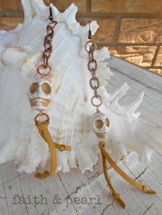 SKuLLy Dangles Hippie Rocker Chic Earrings  boho  by FaithnPearl, $18.00