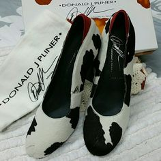 NIB Donald J Pliner/ high heel pump Beautiful and unique calf hair cow print heels. Made in Spain. Donald J. Pliner Shoes Heels
