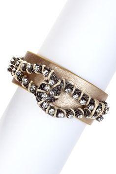 Gold Infinity Leather Crystal Bracelet
