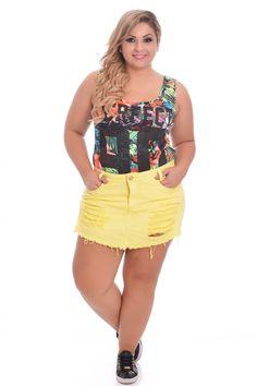 Shorts Saia Destroyed Yellow - VK Moda Plus Size